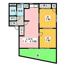 旭前フレグランスA棟[1階]の間取り