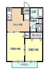 メゾン八山田A[102号室号室]の間取り
