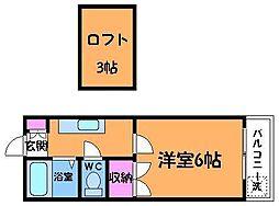 東京都調布市菊野台2丁目の賃貸アパートの間取り