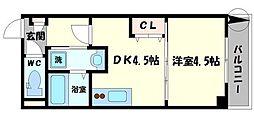 プレシャス中宮 4階1DKの間取り