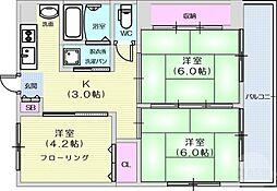 JR東北本線 太子堂駅 徒歩6分の賃貸マンション 1階3Kの間取り