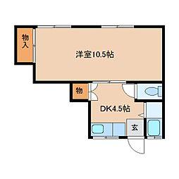 奈良県奈良市三松1丁目の賃貸アパートの間取り