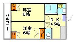 福岡県福岡市南区皿山2丁目の賃貸アパートの間取り