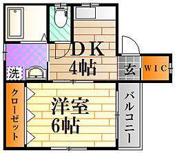 広島電鉄1系統 宇品5丁目駅 徒歩3分の賃貸マンション 2階1DKの間取り