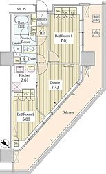 ユニゾンタワー 19階2DKの間取り