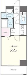 JR東海道本線 新橋駅 徒歩6分の賃貸マンション 10階1Kの間取り