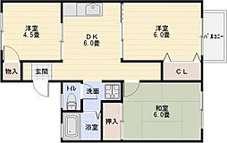 ハイツトシ[1階]の間取り