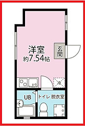 東京都北区上中里1丁目の賃貸アパートの間取り
