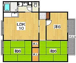 大阪府枚方市西船橋1丁目の賃貸アパートの間取り