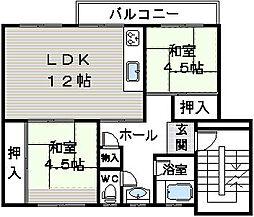 公団狭山住宅37棟[401号室]の間取り