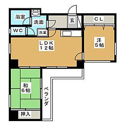第6サンハイツ野辺[3階]の間取り