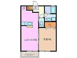 三重県鈴鹿市算所町の賃貸アパートの間取り