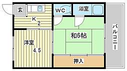 兵庫県姫路市手柄2丁目の賃貸マンションの間取り