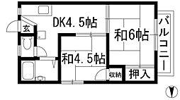大阪府池田市桃園1丁目の賃貸アパートの間取り