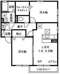 埼玉県川越市神明町の賃貸アパートの間取り