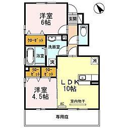 富山県富山市向新庄町4丁目の賃貸アパートの間取り