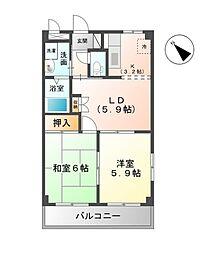 千葉県市原市ちはら台南1丁目の賃貸アパートの間取り