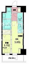 Osaka Metro千日前線 西長堀駅 徒歩5分の賃貸マンション 3階1DKの間取り