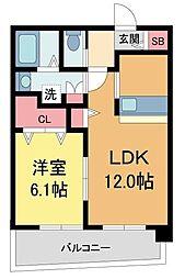 セレニテ西宮本町 7階1LDKの間取り