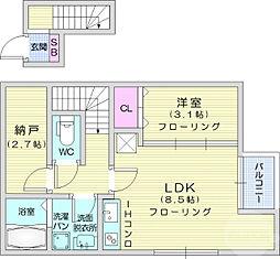 仙台市営南北線 長町一丁目駅 徒歩8分の賃貸アパート 2階1LDKの間取り