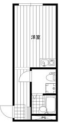 JR横浜線 矢部駅 徒歩8分の賃貸アパート 1階ワンルームの間取り