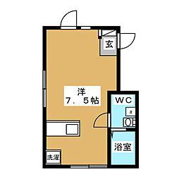 ウィング糀谷 2階ワンルームの間取り