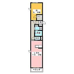 エターナル横浜 2階1LDKの間取り