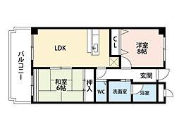 福岡県北九州市小倉南区徳力新町2丁目の賃貸マンションの間取り
