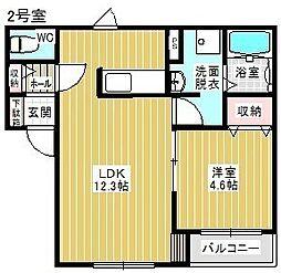 Kelii駒場車庫 1階1LDKの間取り