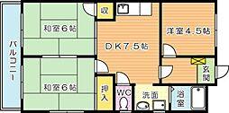 シャトレ青山 B[4階]の間取り