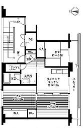 福岡県遠賀郡水巻町古賀2丁目の賃貸マンションの間取り