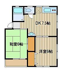 ハイツニュー富士[2階]の間取り