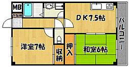 JR山陽本線 西明石駅 バス22分 玉津インター下車 徒歩3分の賃貸マンション 2階2DKの間取り