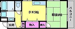 兵庫県芦屋市船戸町の賃貸アパートの間取り