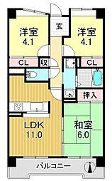 サニークレスト平野西脇[8O6号室号室]の間取り