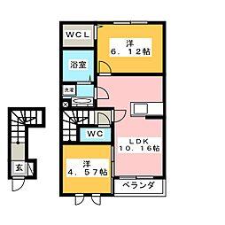 ルワンジュ E 2階2LDKの間取り