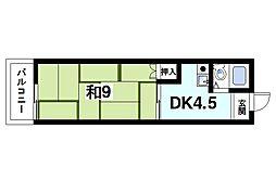 中大路ビル(北) 5階1DKの間取り