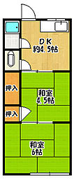 中嶋荘[2階]の間取り