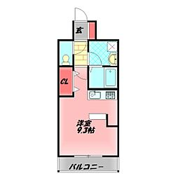 アドヴァンテージ守口 8階ワンルームの間取り