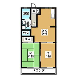 Uハイム加茂川B[1階]の間取り