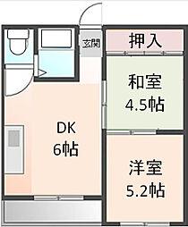 マンション松屋[202号室]の間取り