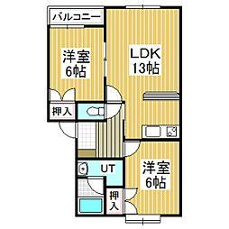 ボヌールナン[1階]の間取り