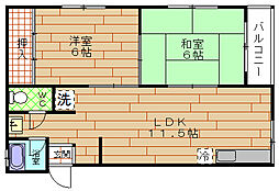 大阪府大阪市此花区梅香1丁目の賃貸マンションの間取り