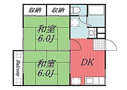 千葉県佐倉市大崎台1丁目の賃貸アパートの間取り