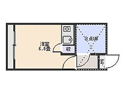 シナーラ衣笠[202号室]の間取り