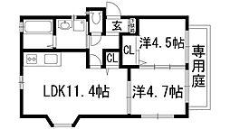 オクテットクレハ南 1号館[2階]の間取り
