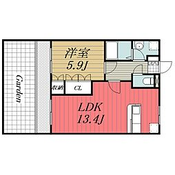 JR総武本線 八街駅 徒歩10分の賃貸マンション 1階1LDKの間取り