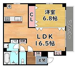 JR東海道・山陽本線 灘駅 徒歩5分の賃貸マンション 2階1LDKの間取り