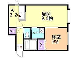 レユシール七番館 2階1LDKの間取り
