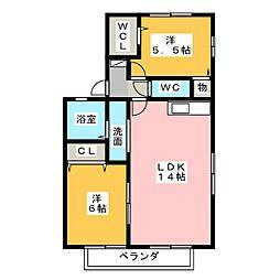 フォンティーヌA棟[1階]の間取り
